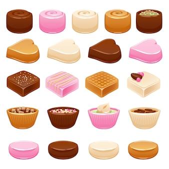 Conjunto de caramelos de chocolate. dulces surtidos.