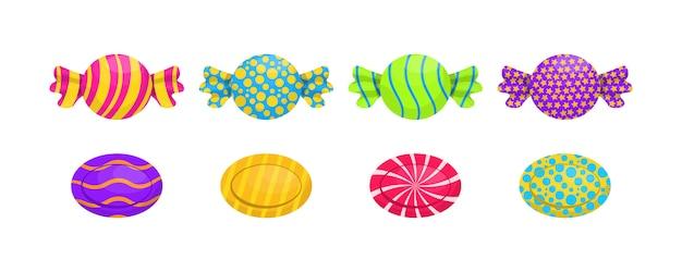 Conjunto de caramelos de dibujos animados individuales: piruleta, caramelo de caña, bombón, mermelada de osito de peluche, regaliz. cartel de dulces de caramelo para confitería o tienda de dulces. caramelos envueltos surtidos. ilustración.