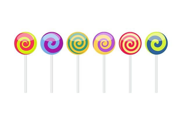 Conjunto de caramelos dulces de paleta de colores. ilustración de vector aislado sobre fondo blanco.