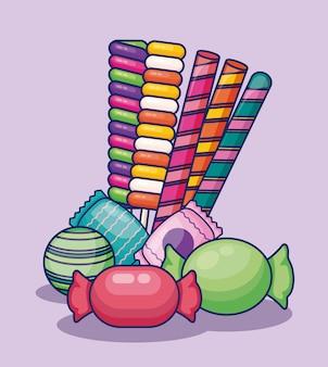 Conjunto de caramelos dulces