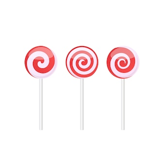 Conjunto de caramelos piruletas rojas y blancas con varios patrones en espiral. ilustración de vector aislado sobre fondo blanco.