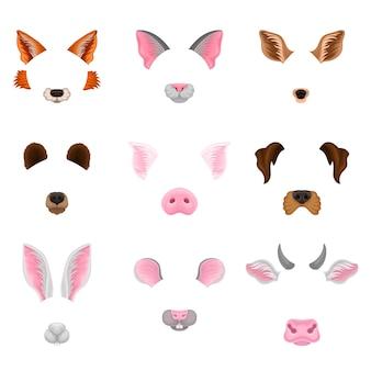 Conjunto de caras de animales. diseño gráfico para decoración de fotos selfie o efectos de video chat.