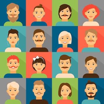 Conjunto de caras de avatar de usuario.