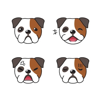 Conjunto de caras de bulldog de carácter mostrando diferentes emociones.