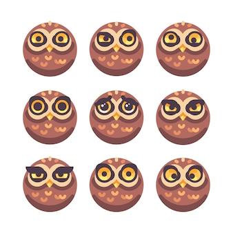 Conjunto de caras divertidas de búho con diferentes expresiones.