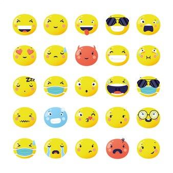 Conjunto de caras divertidas emojis