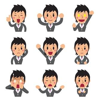 Conjunto de caras de empresaria mostrando diferentes emociones