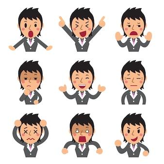 Conjunto de caras de empresaria mostrando diferentes emociones.