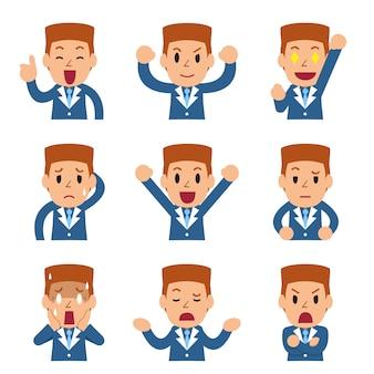 Conjunto de caras de empresario de dibujos animados mostrando diferentes emociones