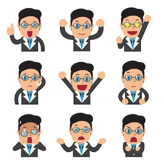 Conjunto de caras de empresario mostrando diferentes emociones.