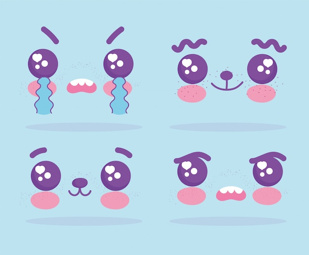 Conjunto de caras de expresión de dibujos animados emojis kawaii