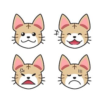 Conjunto de caras de gato atigrado que muestran diferentes emociones para el diseño.