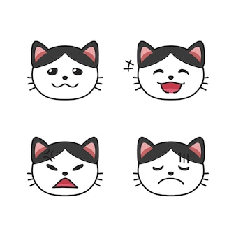 Conjunto de caras de gatos que muestran diferentes emociones para el diseño.