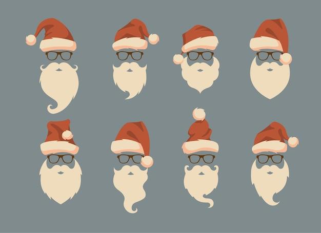Conjunto de caras con gorro de papá noel, bigote y barba. elementos de diseño de navidad santa. iconos de vacaciones