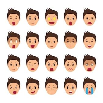 Conjunto de caras de un hombre mostrando diferentes emociones.