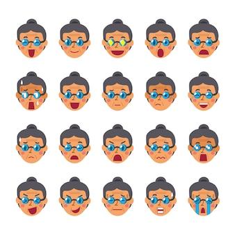 Conjunto de caras de una mujer mayor mostrando diferentes emociones.