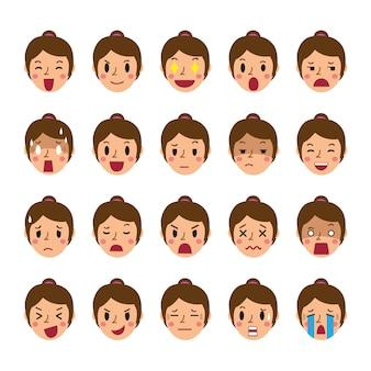 Conjunto de caras de mujer mostrando diferentes emociones.