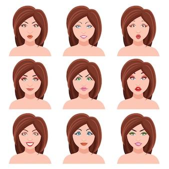 Conjunto de caras de mujer