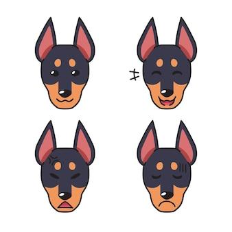 Conjunto de caras de perro dobermann de carácter mostrando diferentes emociones.