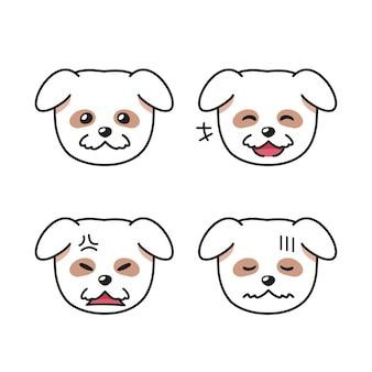Conjunto de caras de perros blancos que muestran diferentes emociones.