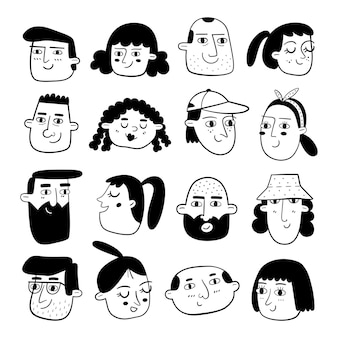 Conjunto de caras de personas dibujadas a mano en blanco y negro