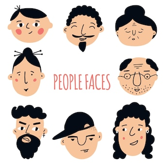 Conjunto de caras de pueblos. gráficos hechos a mano. diferentes hombres y mujeres. personajes de caricatura