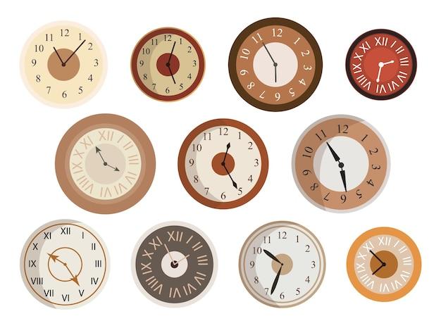 Conjunto de caras de relojes antiguos