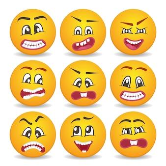 Conjunto de caras sonrientes con diferentes expresiones faciales