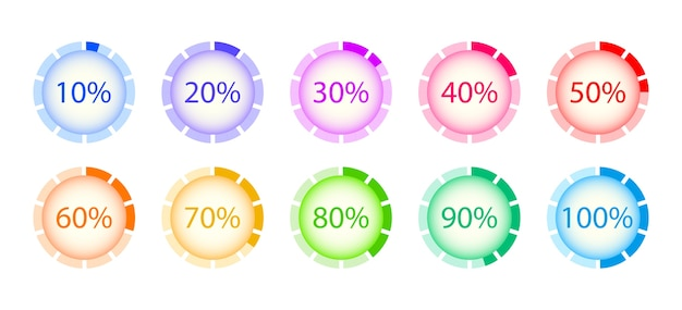 Conjunto de carga circular. descargas de progreso en porcentaje. elementos