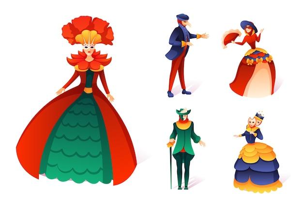 Conjunto de carnaval veneciano, gente de dibujos animados en traje festivo y máscara de mascarada de fiesta.