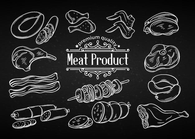 Conjunto de carne de icono monocromo dibujado a mano