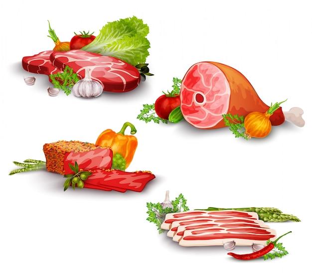 Conjunto de carne con verduras