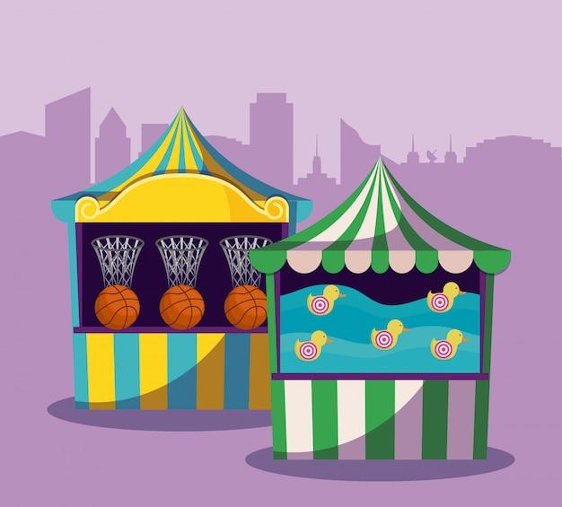 Conjunto de carpas de circo con juegos.