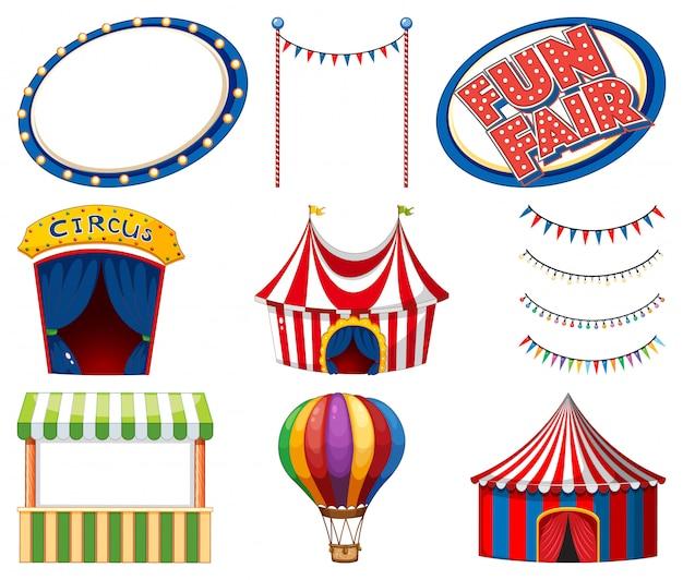 Conjunto de carpas de circo y signos