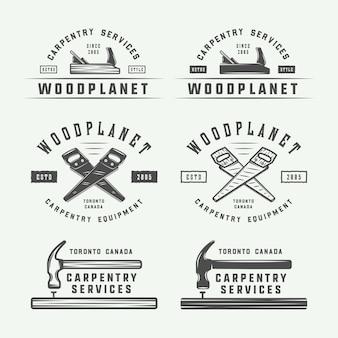 Conjunto de carpintería vintage, carpintería y etiquetas mecánicas, distintivos, emblemas y logotipo.