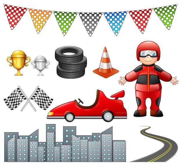Conjunto de carreras de autos aislado sobre fondo blanco