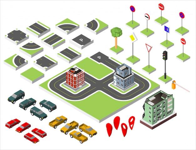 Conjunto de carretera isométrica y vector cars, normativa de tráfico común de carreteras.