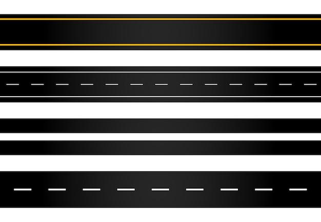 Conjunto de carreteras sinuosas y carreteras con marcas divisorias aisladas