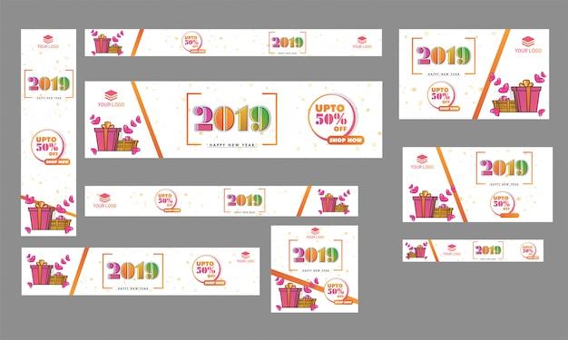 Conjunto de cartel de año nuevo, diseño de banner publicitario con 50% disco.