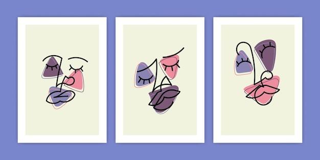 Conjunto de cartel de cara abstracta con estilo de arte lineal