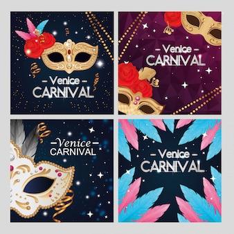Conjunto de cartel carnaval de venecia con decoración