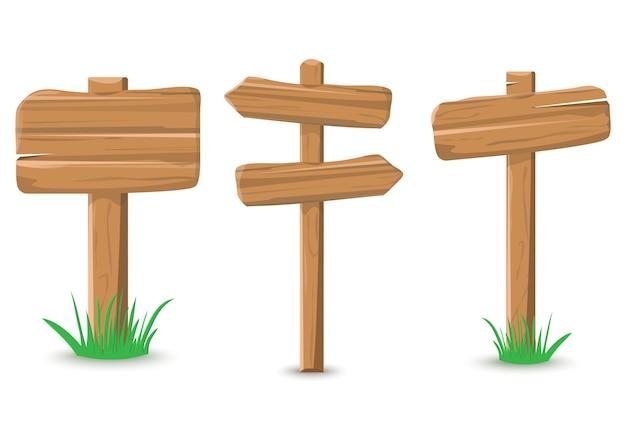 Conjunto de cartel de madera de color de dibujos animados con hierba, ilustración