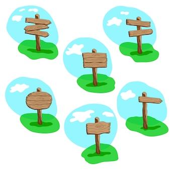 Conjunto de cartel de madera de estilo de dibujos animados