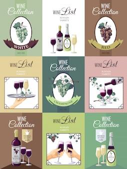 Conjunto de cartel del menú del vino