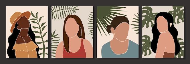 Conjunto de carteles abstractos femeninos y hojas de siluetas en estilo boho