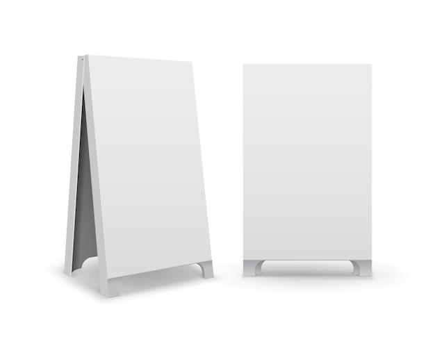 Conjunto de carteles de acera de soportes de bocadillo de mano de calle publicitarios en blanco vacíos rectangulares
