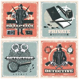 Conjunto de carteles de la agencia de detectives