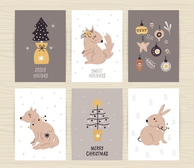 Conjunto de carteles con árbol, animales lindos e inscripciones.