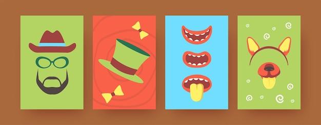 Conjunto de carteles de arte contemporáneo con accesorios de fiesta.