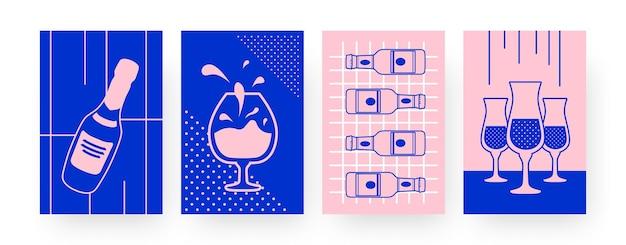 Conjunto de carteles de arte contemporáneo bebidas alcohólicas. vasos, ilustración de botella de champán